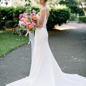 Elegant Crepe Wedding Dress with Buttons