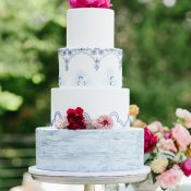 Blue and Hot Pink Spanish Tile Inspired Wedding Cake