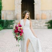 Bold Berry Pink Bouquet with a Modern Gray Wedding Dress