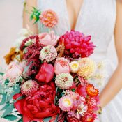 Colorful Fuchsia Pink and Yellow Bridal Bouquet