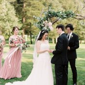 Romantic Blush Pink and Dusty Rose Wedding Ceremony