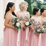 Elegant Formal Bridesmaids in Shades of Pink
