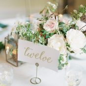 Gold Calligraphy Table Numbers with Garden Floral Arrangements