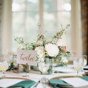 Ivory and Sage Green Wedding Table Decor