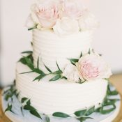 Greenery and Blush Floral Wedding Cake