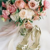 Bridal Bouquet in Shades of Pink with Gold Shoes