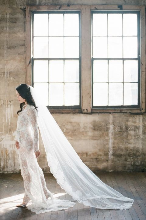 Vintage Lace Bridal Robe and Veil for a Modern Loft Wedding