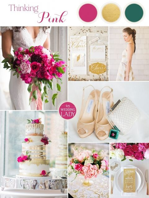 Modern Pink and Gold Palette with Emerald Details