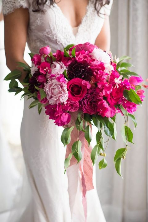 Bright Pink and Fuchsia Bridal Bouquet