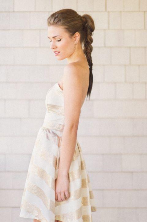 Gold and White Stripe Bridesmaid Dress