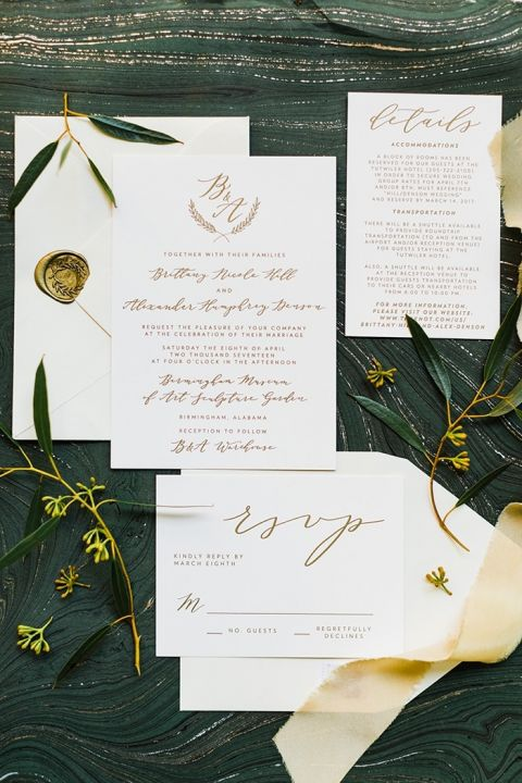 Marbled Metallic Wedding Invitations with Modern Calligraphy
