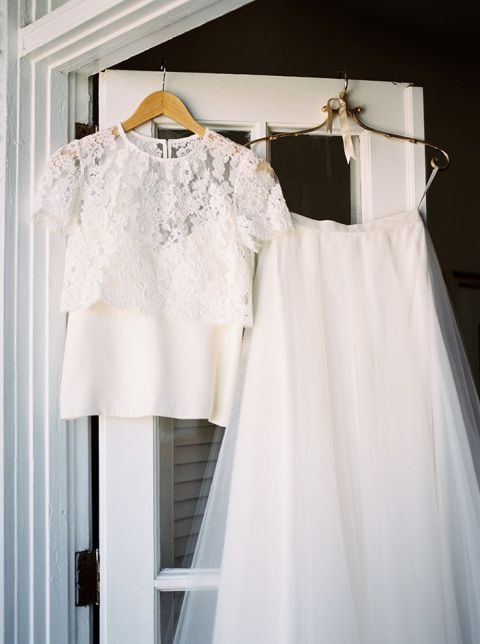 Lace Crop Top and Tulle Skirt for Chic Bridal Separates