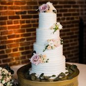 Tall Layered Wedding Cake with Pastel Flowers