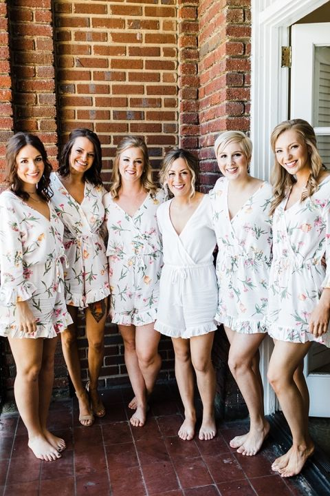 Bride and Bridesmaids Getting Ready in Floral Print Rompers