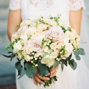 Pastel Peach and Lavender Bridal Bouquet