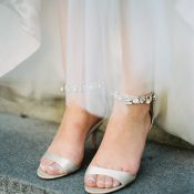 Peep Toe Jeweled Wedding Shoes