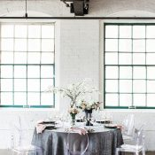 Industrial Wedding Reception with Velvet and Spring Flowers