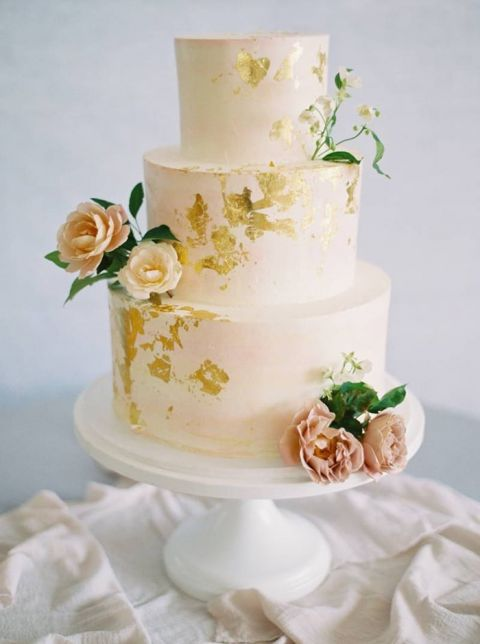 Peach and Gold Leaf Watercolor Wedding Cake with Fresh Flowers