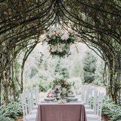 Garden Arbor Wedding Reception with a Floral Chandelier