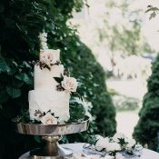 Blush and Rose Gold Garden Wedding Cake and Desserts
