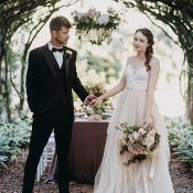 Bride and Groom at a French Inspired Garden Party Wedding