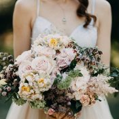 Pink and Mauve Bridal Bouquet with Spring Garden Flowers