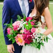 Colorful Royal Blue and Fuchsia Pink Southern Wedding