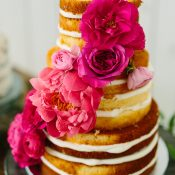 Naked Layer Cake with Coral Charm Peonies and Pink Roses