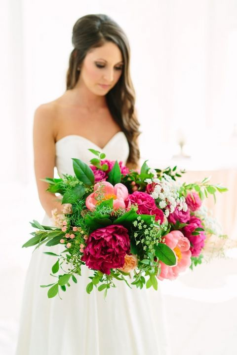 Gorgeous Fuchsia Pink and Coral Bridal Bouquet with Greenery