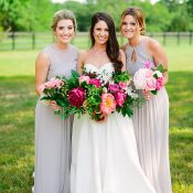 Stylish Southern Summer Wedding with Colorful Chic Flowers and Neutral Bridesmaid Dresses