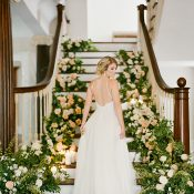 Romantic Southern Bridal Portraits with a Floral Staircase