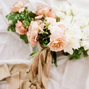 Peaches and Cream Bridal Bouquet with Silk Ribbons