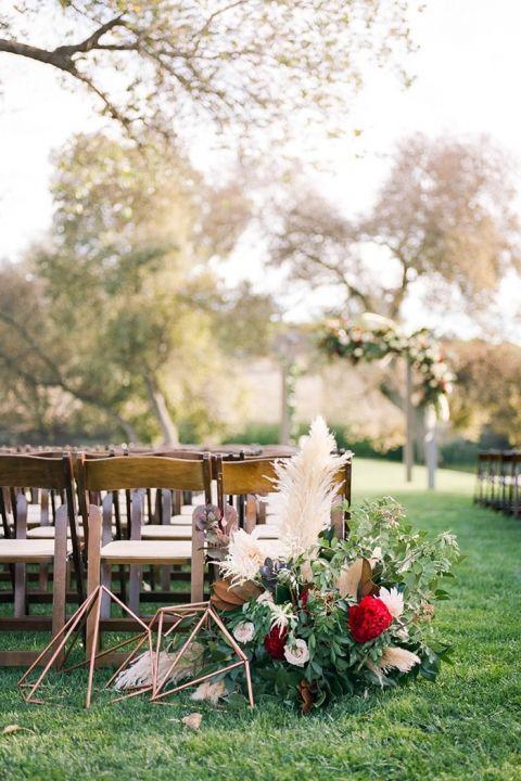Modern Metallic and Floral Wedding Ceremony Aisle Decor