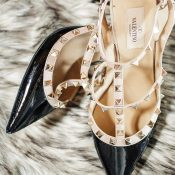 Black and Nude Valentino Rockstud Heels