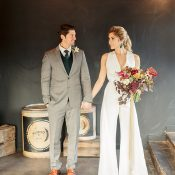 Industrial Chic Warehouse Wedding with a Modern Jumpsuit for the Bride