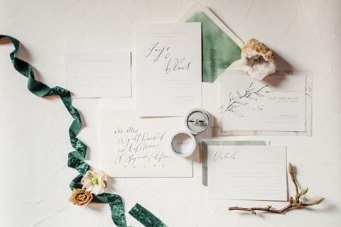 Sage Green and Gray Wedding Invitation Suite