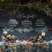 Hand Lettered Chalkboard Menu and a Winter Greenery Hanging Installation