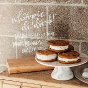 Whoopie Pie Dessert Display with a Hand Lettered Acrylic Sign