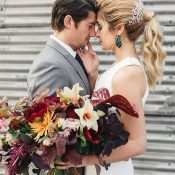 Industrial Chic Fall Wedding with Earthy Jewel Tone Flowers