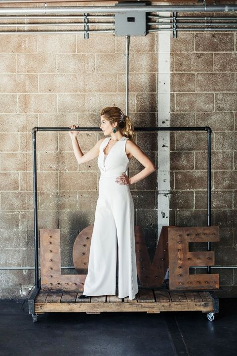 Chic Bridal Jumpsuit for an Industrial Warehouse Wedding