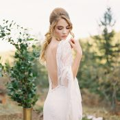 Open Back Wedding Dress with Long Bell Sleeves