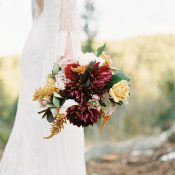 Bohemian Bride with a Jewel Tone Fall Bouquet