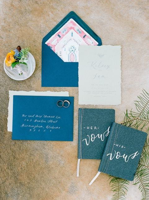 Denim Blue and Colorful Patterned Wedding Invitations