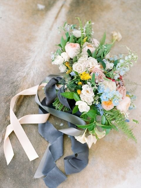 Colorful Summer Bridal Bouquet in Blue, Peach, and Yellow