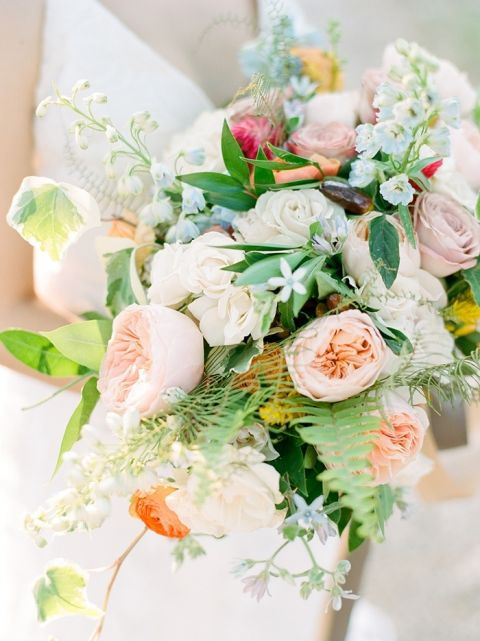 Peach and Pale Blue Bridal Bouquet
