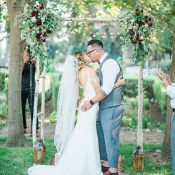Rustic Floral and Birch Tree Ceremony Backdrop for a Ranch Wedding