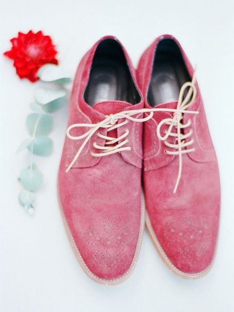 Red Suede Shoes for a Modern Groom