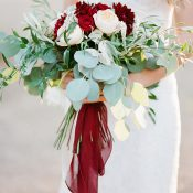 Burgundy and Peach Bridal Bouquet with Summer Greenery and Silk Ribbons