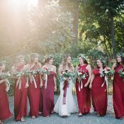 Mismatched Bridesmaid Dresses in Garnet and Wine