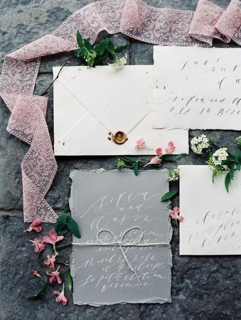 Lavender and Gray Wedding Invitations in White Ink